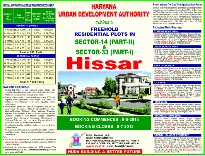 HUDA Residential Plots Scheme in Hissar - Advertisement