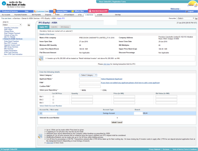 SBI ASBA Form for IPO