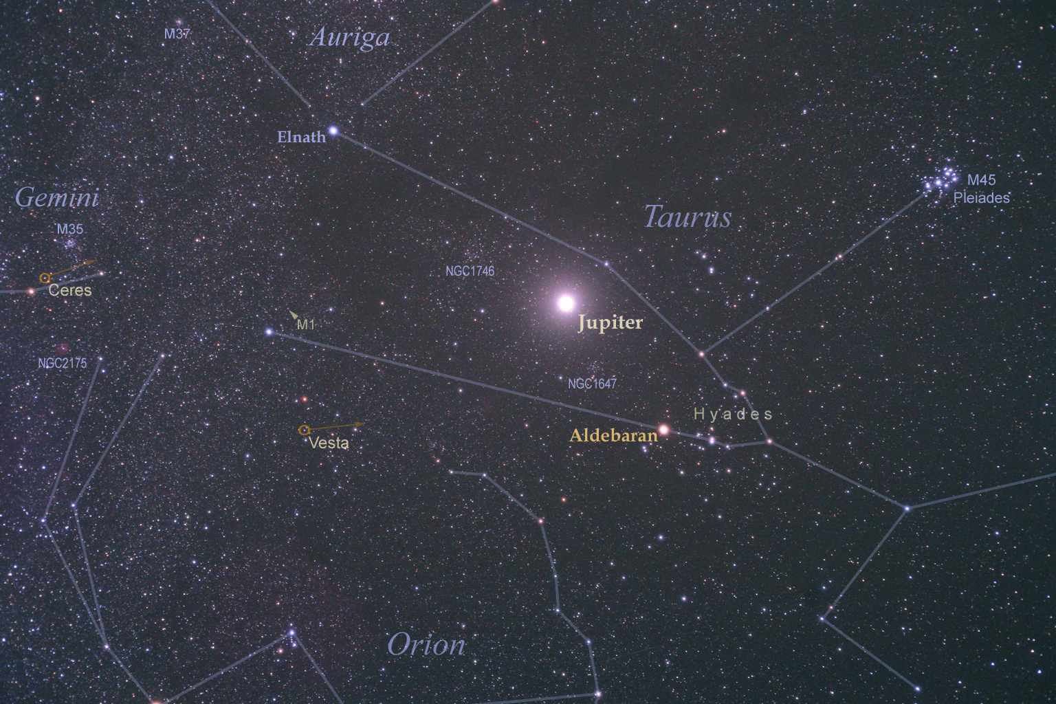 27 November Sterrenbeeld Apod 27 November 2012 Heldere Jupiter In Taurus