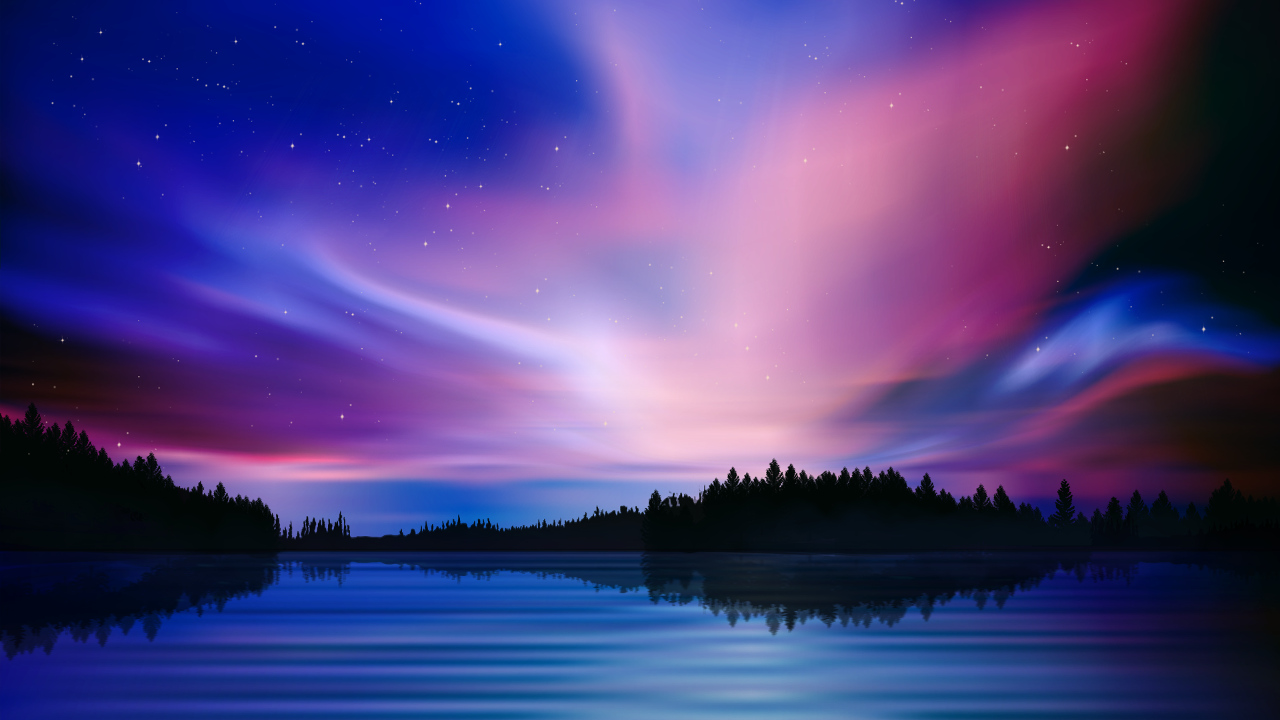 Pink Anime Wallpaper Purple Sky Northern Lights Dynamic Theme On Ps4