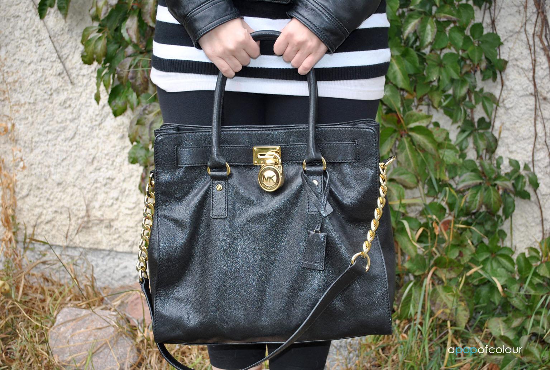 michael kors tasche bag hamilton ew satchel black bag. Black Bedroom Furniture Sets. Home Design Ideas