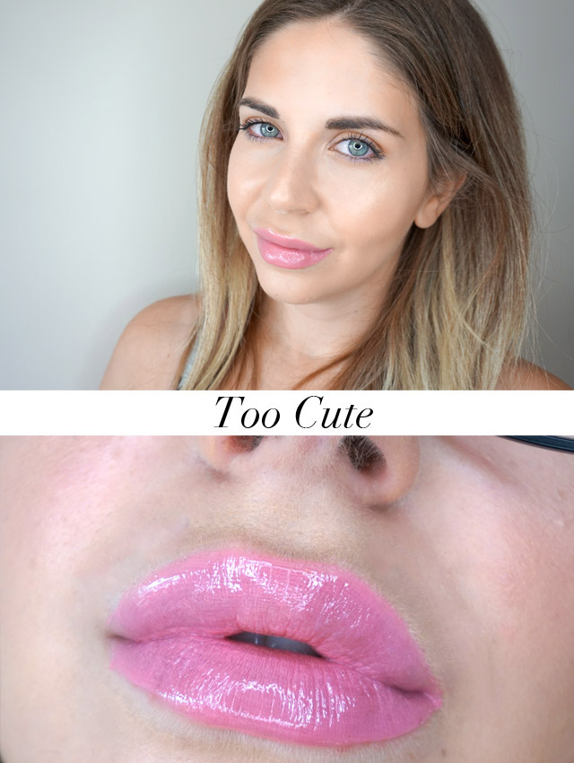 Swatch Maybelline Vivid Hot Lacquers lip gloss in Too Cute
