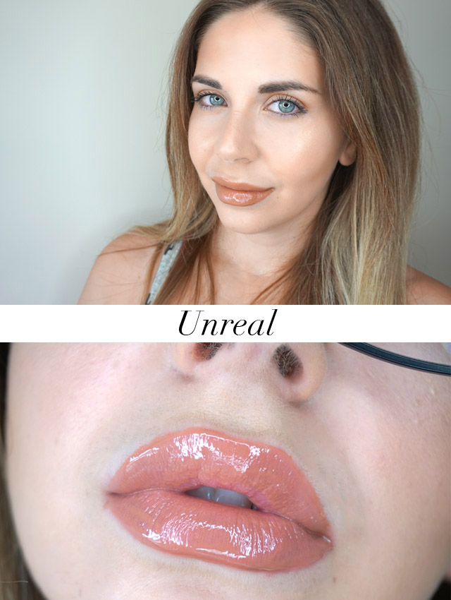 Swatch Maybelline Vivid Hot Lacquers lip gloss in Unreal