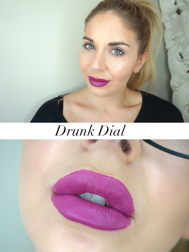 Too Faced Peaches and Cream Moisture Matte Long Wear Lipsticks swatch in Drunk Dial