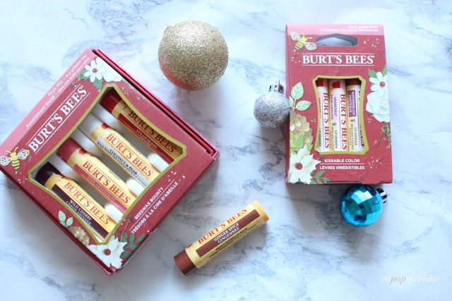 Burt's Bees Beeswax Bounty Fruit Mix set, Ginger Spice lip balm, and Kissable Colour set