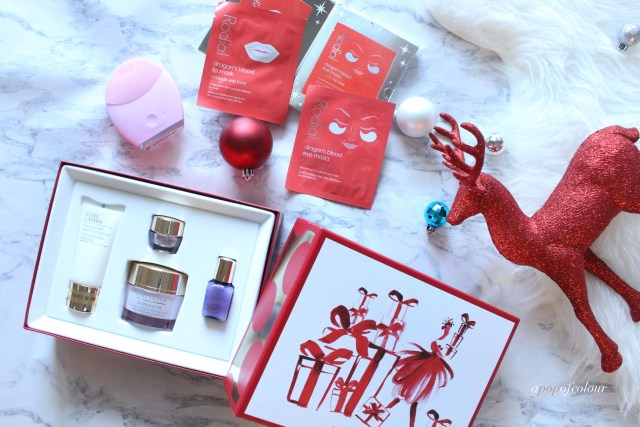 Estee Lauder holiday set, Rodial holiday set and Foreo Luna 2