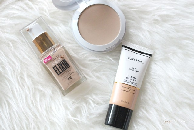 CoverGirl Vitalist Elixir foundation, pressed powder, and Glow lotion