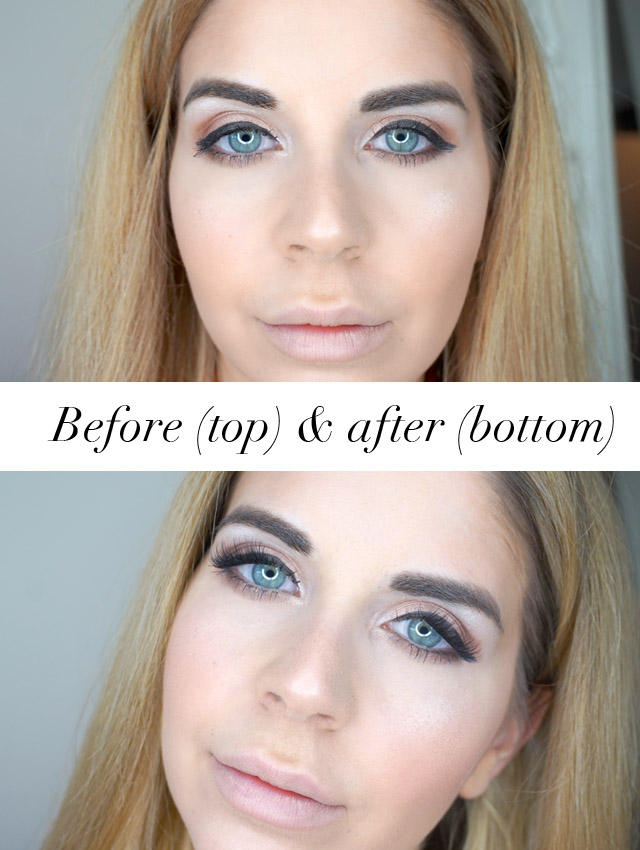 Before and after using the TOK Beauty It Takes Two Magnetic Lashes