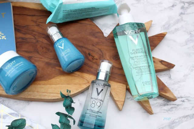 Vichy Aqualia Thermal Hydrating Serum, Purete Thermale Cleanser, Aqualia Thermale Rehydrating Water Gel, and Mineral 89 serum