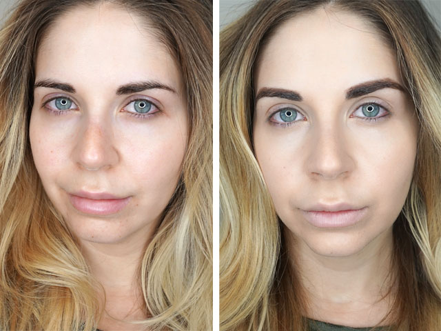 Before and after swatches of Physician's Formula The Healthy Foundation LC1