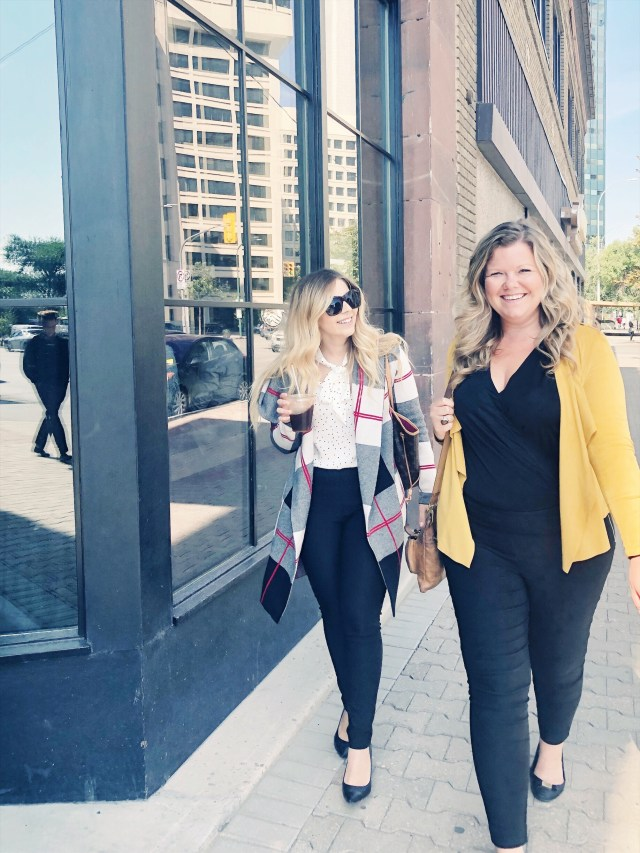 Walking in Downtown Winnipeg wearing Le Chateau Fall 2018 workwear line