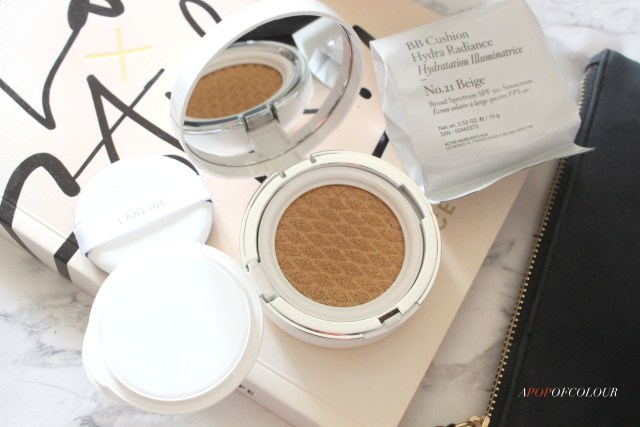 Laneige BB Cushion Hydra Radiance SPF 50.