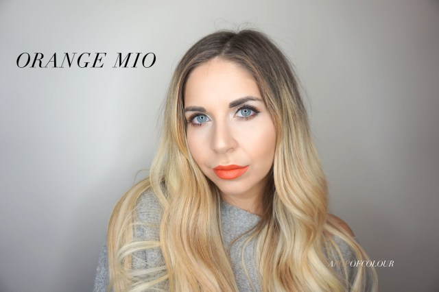 Mary Kay Matte lipstick swatch in Orange Mio