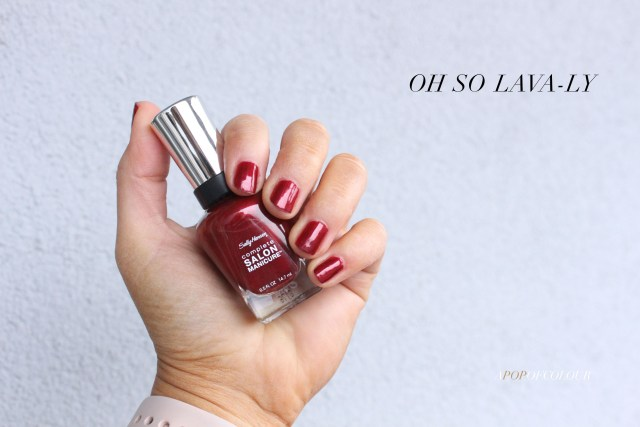Sally Hansen Red/esign nail polishes swatch in Oh So Lavaly