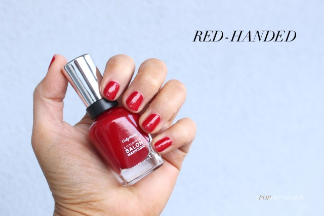 Sally Hansen Red/esign nail polishes in Red-Handed