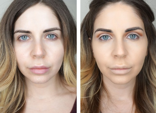 Before and after using Fenty Beauty Pro Filt'r Foundation swatches