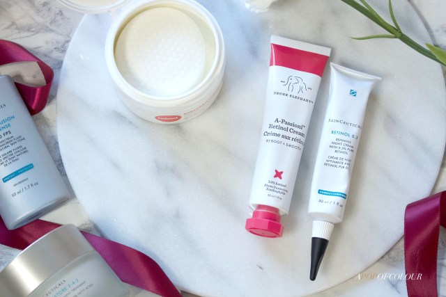 Retinol products from Skinceuticals and Drunk Elephant