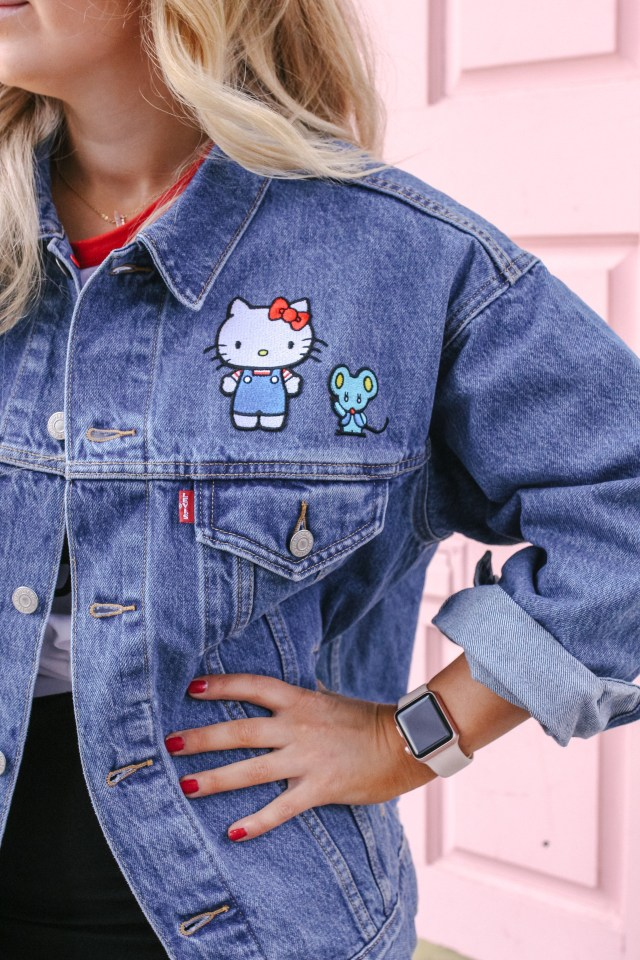 Close up of Hello Kitty x Levi's Dad Trucker Jacket patches