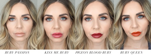 Lancome L'absolu Rouge lipsticks swatched