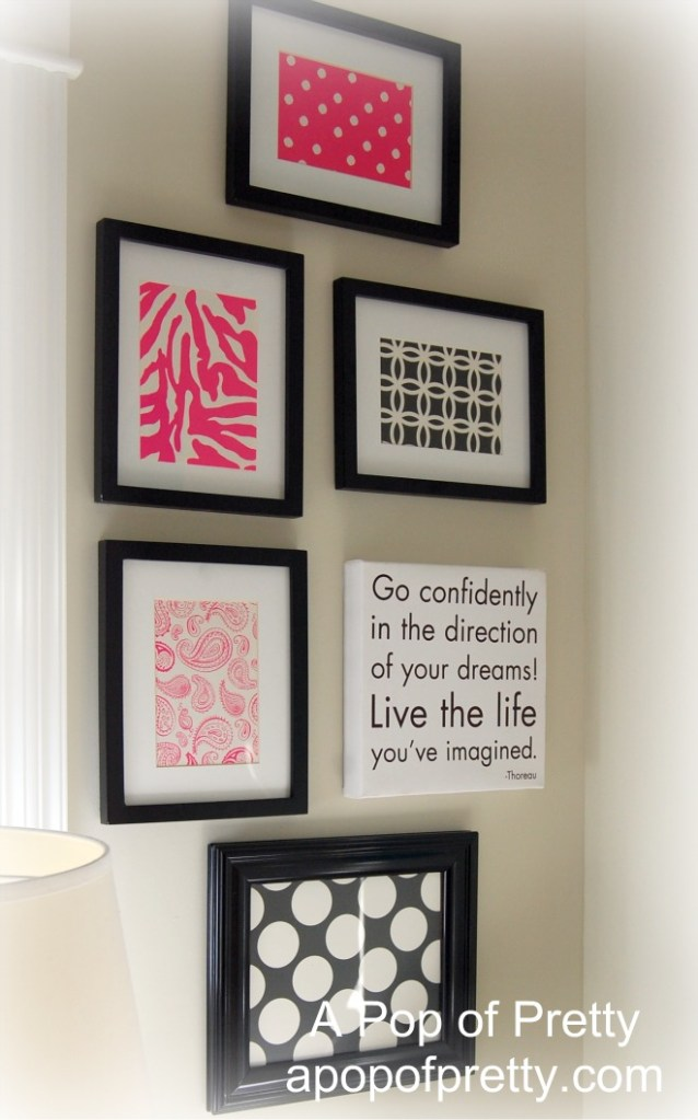 Create chic wall art with scrapbook paper a pop of pretty blog canadian home decorating blog - Canadian home decor stores photos ...
