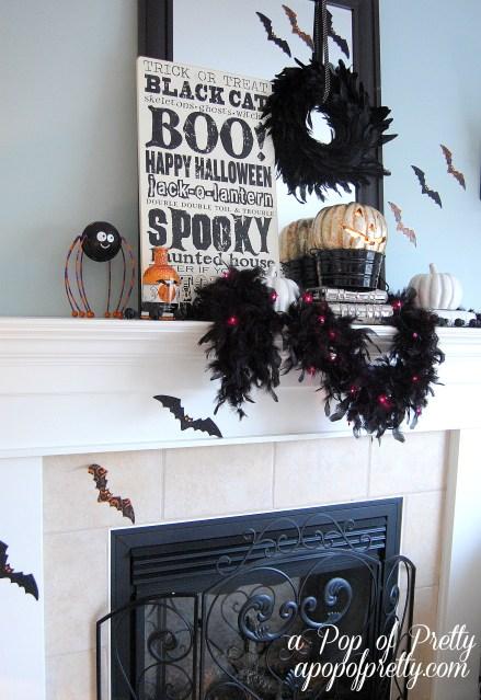 Halloween mantel decor 2012