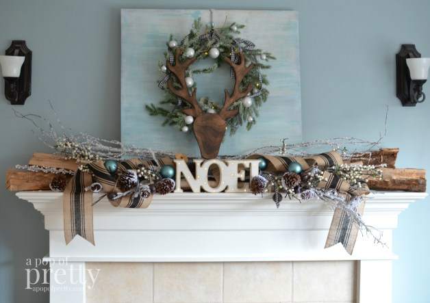 French inspired Christmas decor mantel