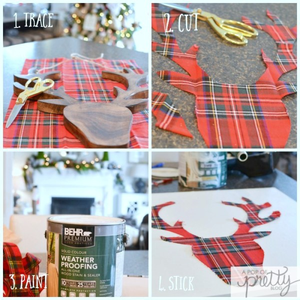 plaid deer head sign - diy