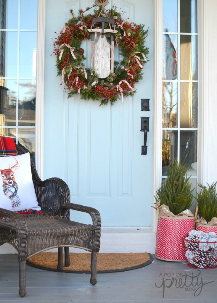 cottage Christmas front porch red plaid