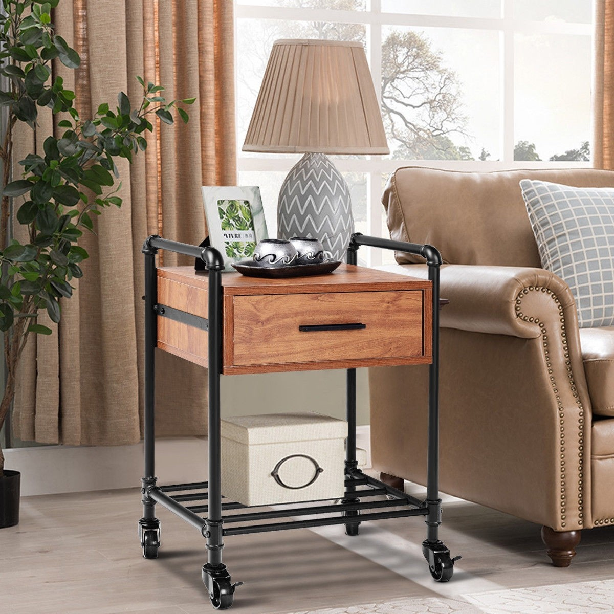 Storage Table On Wheels Details About 2 Tier End Coffee Living Room Table With Drawer And Wheels Storage Decorations