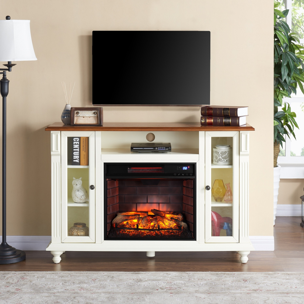 Fireplace Tv Combo Details About Copper Grove Whittaker Antique White Infrared Electric Fireplace Tv Stand