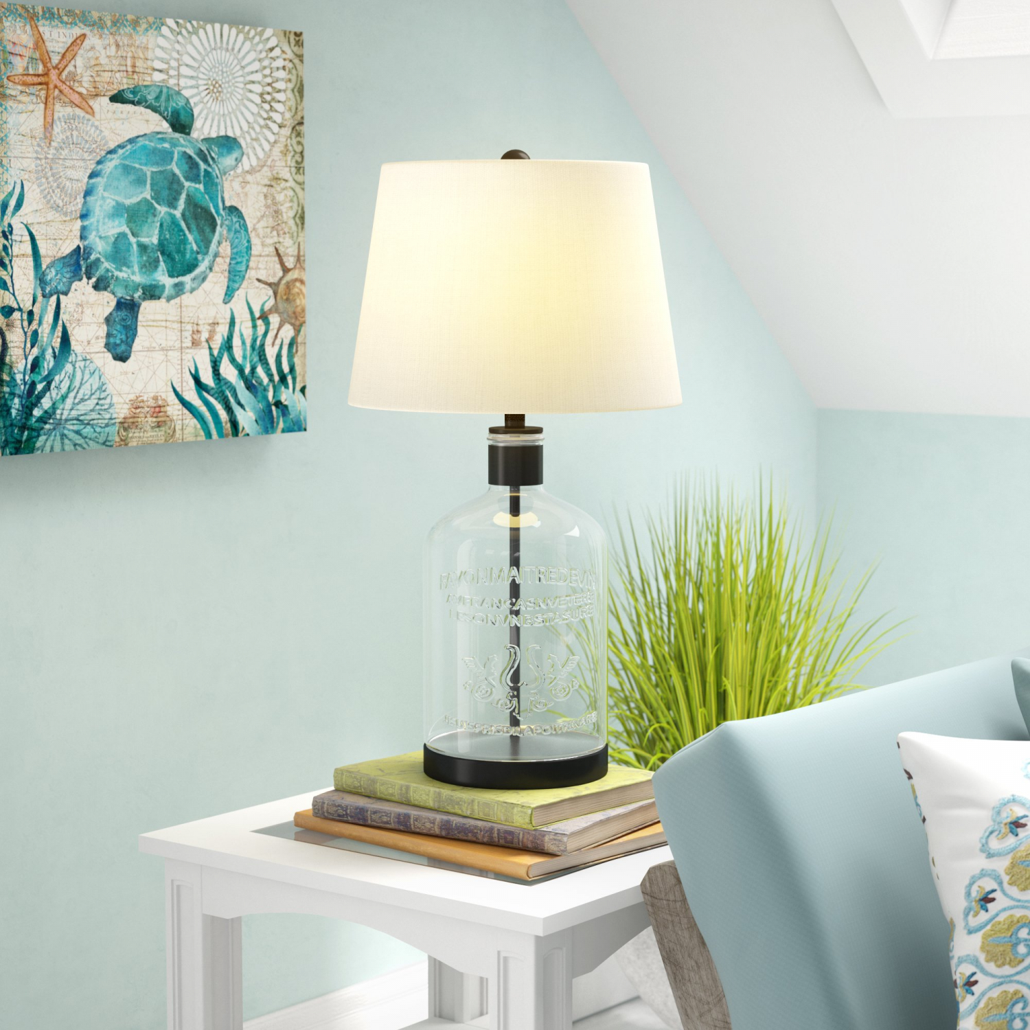Glass Jar Lamp Shade Metal And Glass Jar 26 5 Inch Table Lamp With 3 Way Switch And Drum
