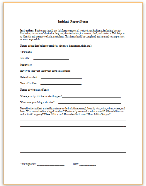 work related incident report sample