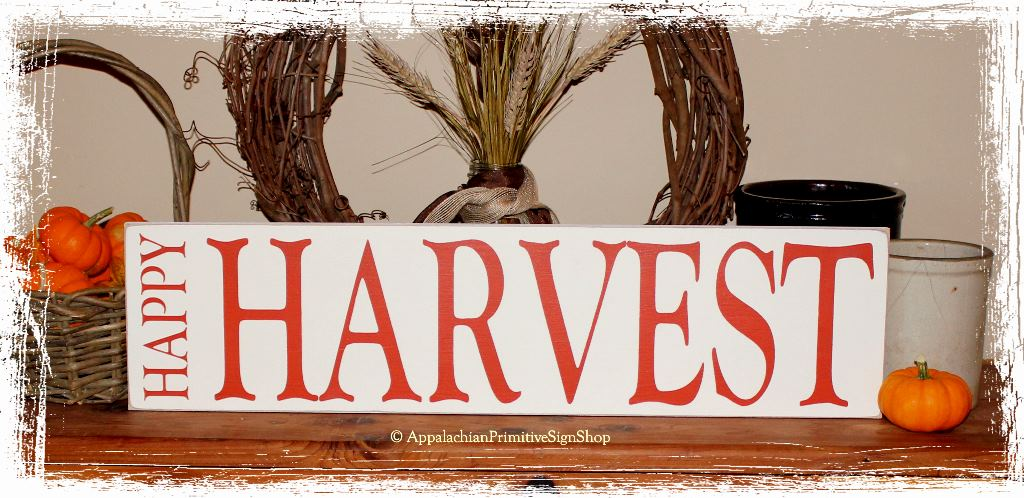 Rustic Family Room Happy Harvest Wood Sign Thanksgiving Halloween Fall Decoration
