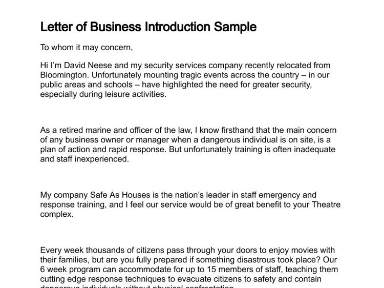 New Business Introductory Letter Apparel Dream Inc
