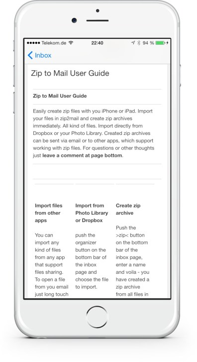 Zip to mail iPhone 6 plus