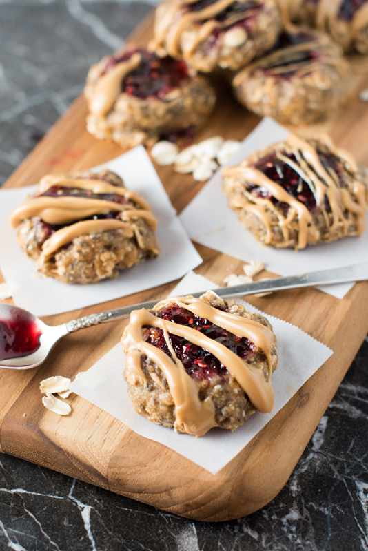 Vegan Raspberry Thumbprint Breakfast Cookies
