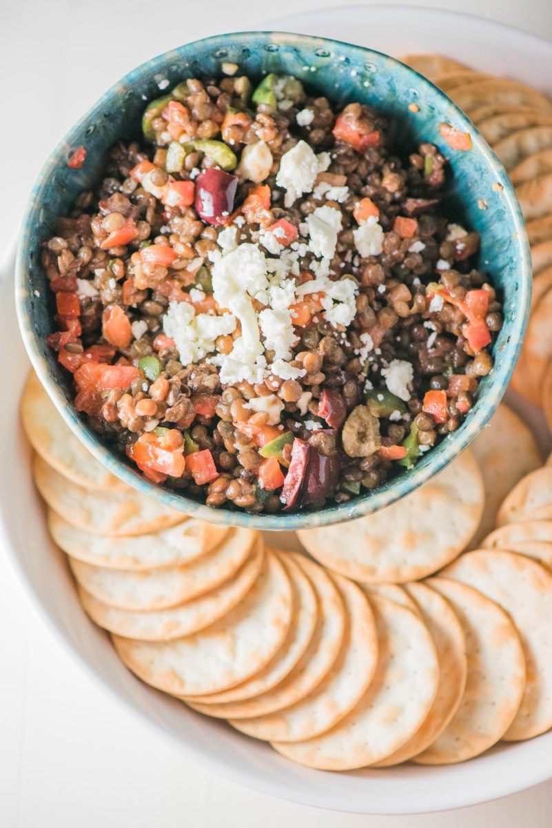 Bruschetta Lentil Dip- healthy and SO delicious! Just 4 ingredients.