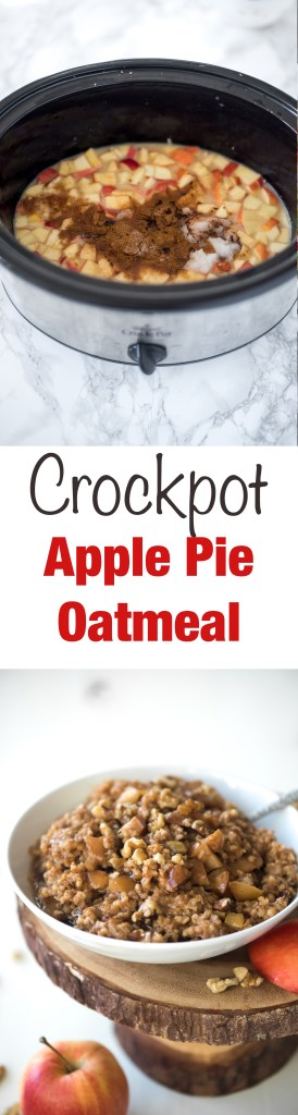 Crockpot Apple Pie Oatmeal- just throw everything into the crockpot ...