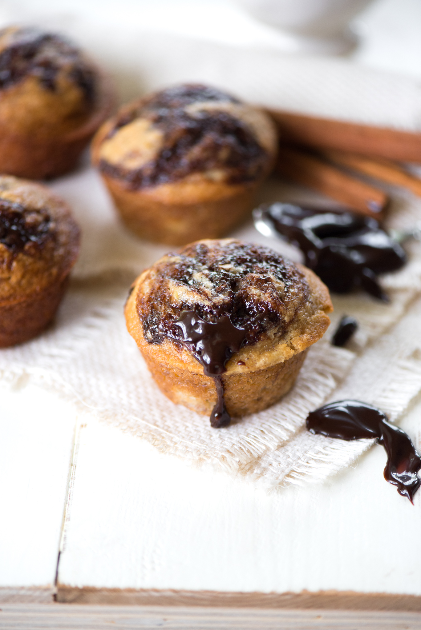 Hot Fudge Banana Bread Muffins
