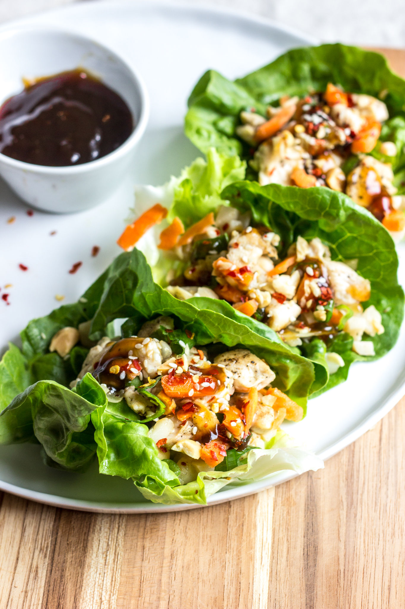 Teriyaki Chicken Lettuce Wraps- bursting with Asian flavor, low carb, and done in under 30 minutes!