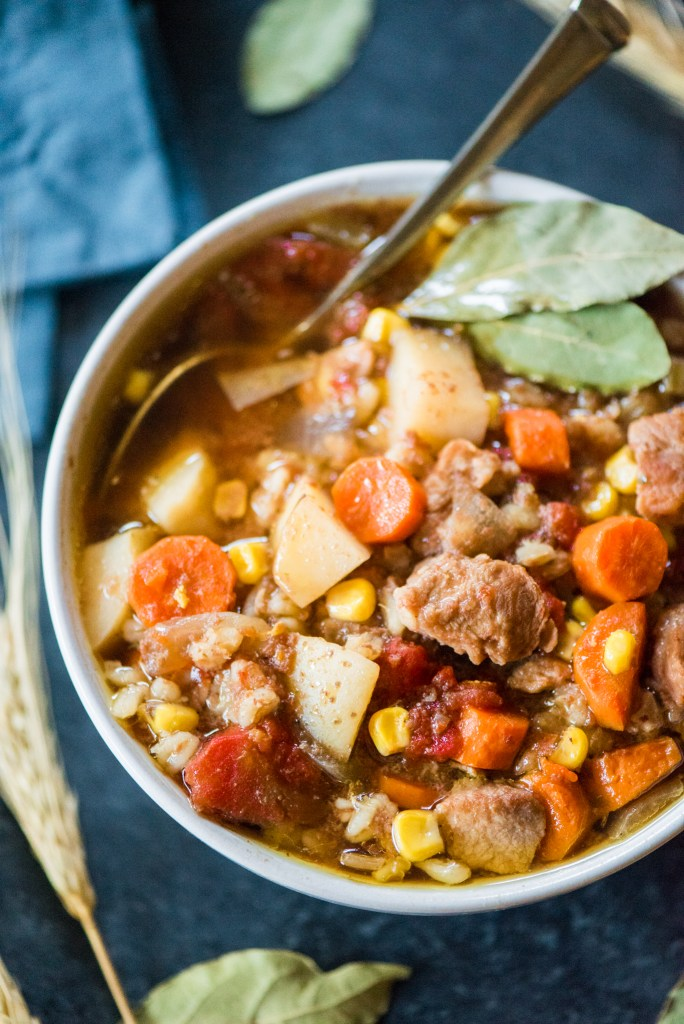 Harvest Crockpot Beef & Barley Stew- let the crockpot do the work for you!