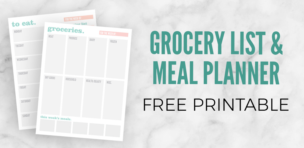 Grocery List  Meal Planning Printable - Applecart Lane