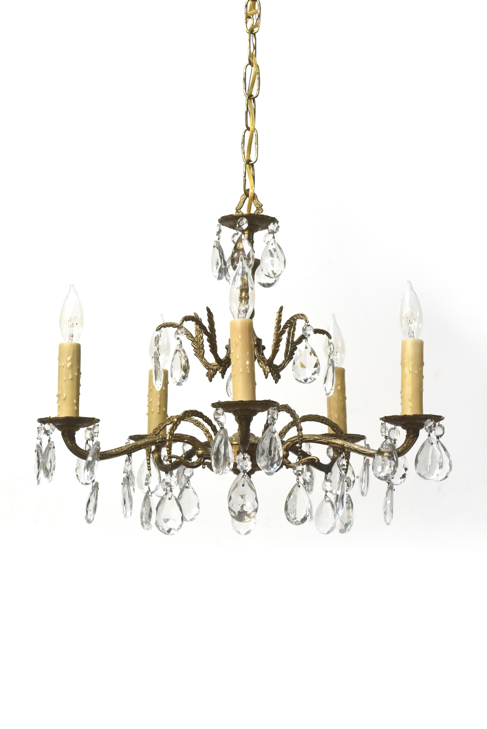 Spanish Chandelier Five Light Spanish Brass And Crystal Chandelier