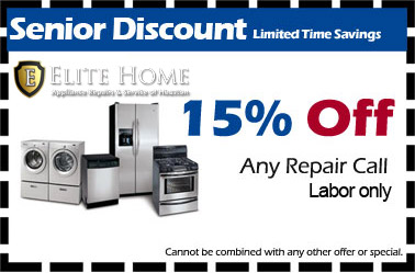 Appliance Repair Service in Katy, Texas Saving Coupons, 15% Off Senior Discount.