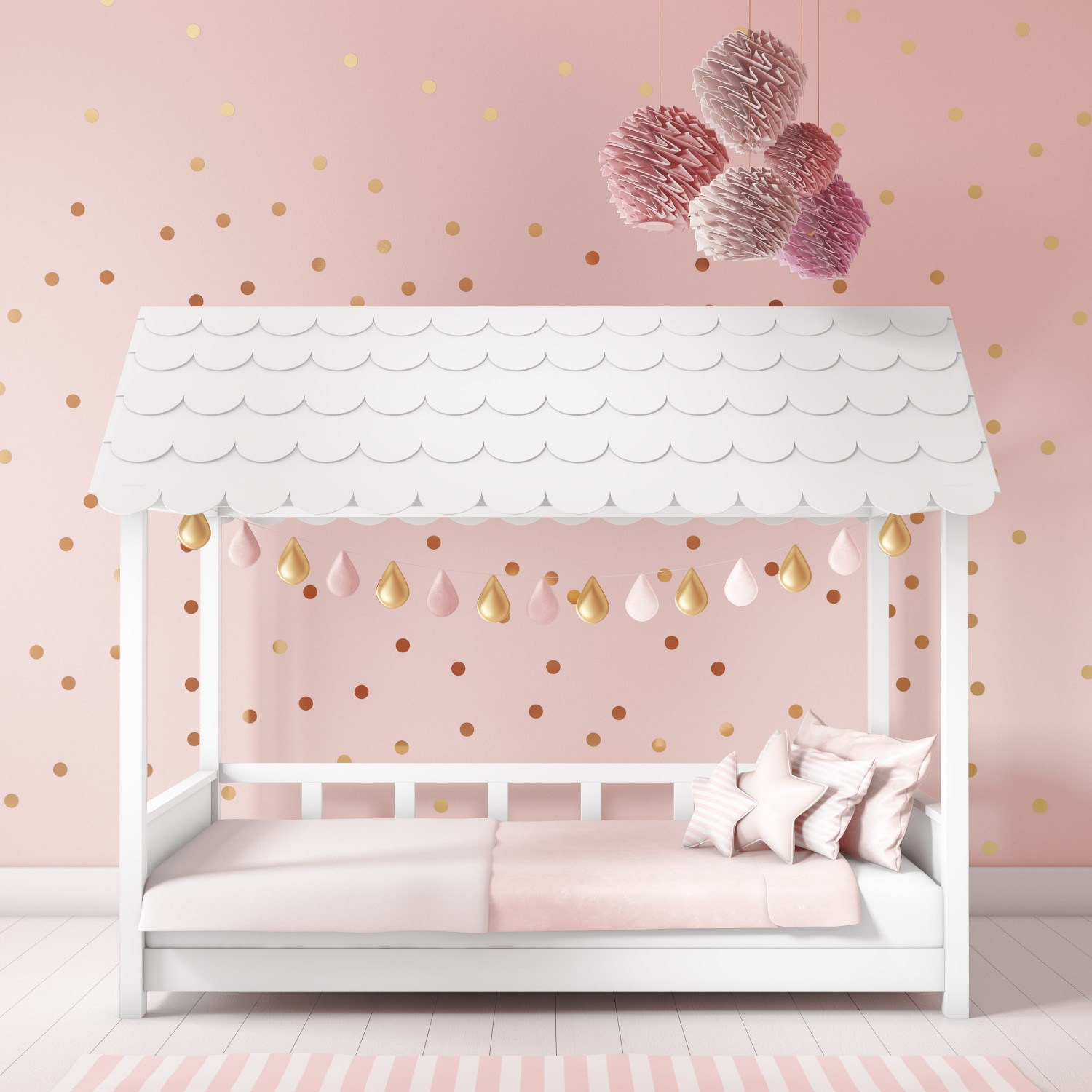 House Bed Frame Uk Details About Children House Bed Frame In White Wooden With Scalloped Roof Kids Single