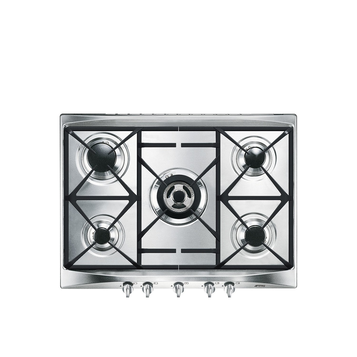 Cucina Kitchen Appliances Smeg Sr275xgh2 Cucina 69cm Stainless Steel 5 Burner Gas Hob With Cast Iron Pan Stands And New Style Controls