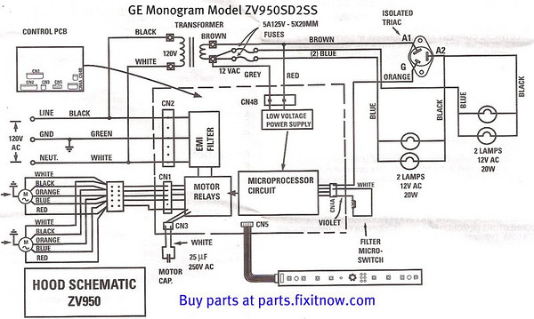 GE Monogram range vent hood model ZV950SD2SS schematic and bonus