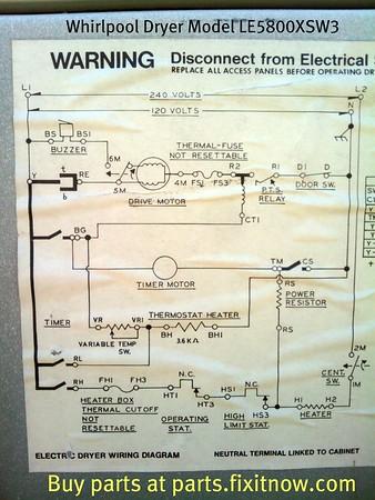 Whirlpool Dryer Model LE5800XSW3 Wiring Diagram Fixitnow