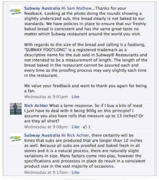 Subway Facebook page