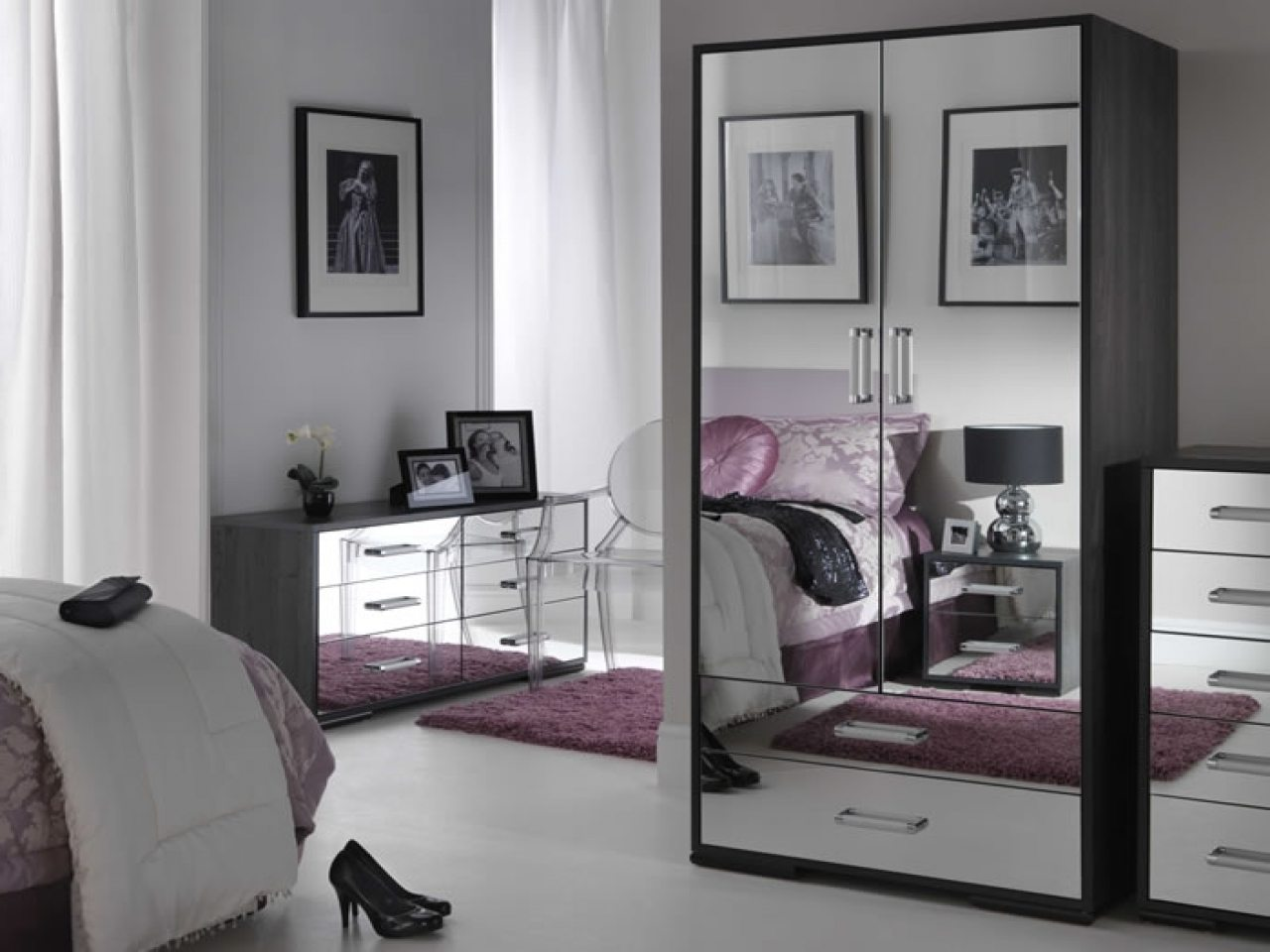 Black Mirrored Glass Bedroom Furniture Make Your Home Modern Mirror Set Kim Kardashian Headboard Mirrors Wall Nightstand Sets Apppie Org